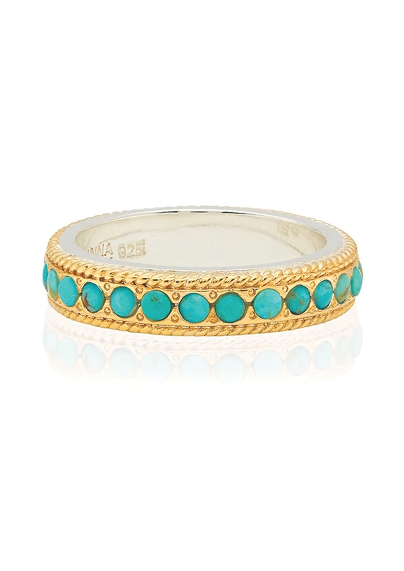 ANNA BECK Solstice Turquoise Pave Stacking Ring - Gold main image