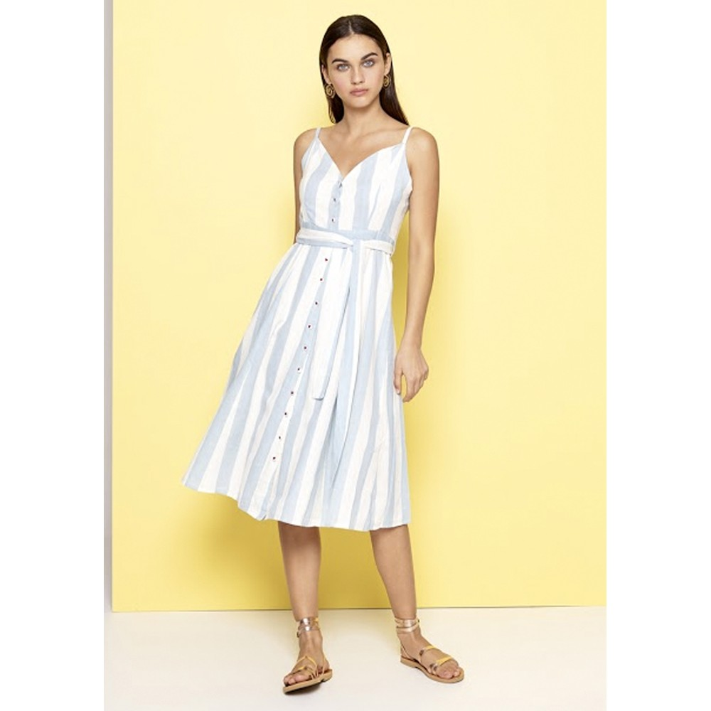 Striped Cotton Dress - Blue & White
