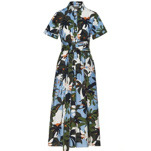 Tropical Midi Shirt Dress - Jungle