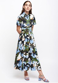 SFIZIO Tropical Midi Shirt Dress - Jungle