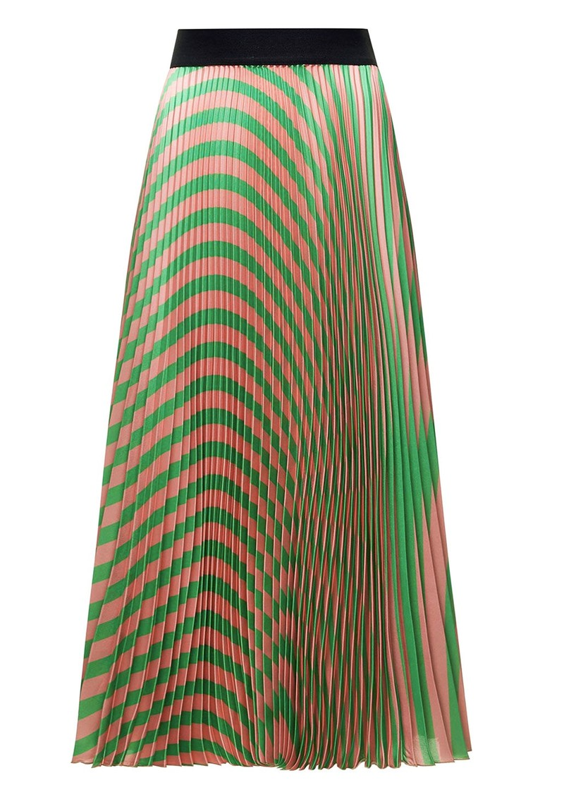 SFIZIO Pleated Stripe Midi Skirt - Green main image