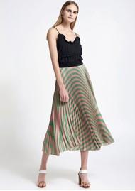 SFIZIO Pleated Stripe Midi Skirt - Green