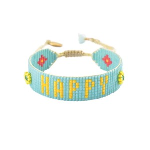 Be Happy Beaded Bracelet - Turquoise