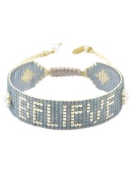 MISHKY Believe Beaded Bracelet - Grey