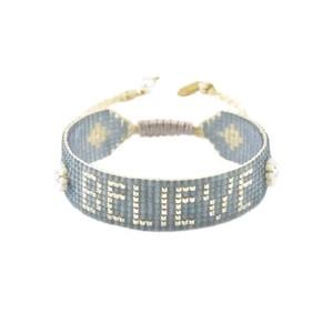 Believe Beaded Bracelet - Grey