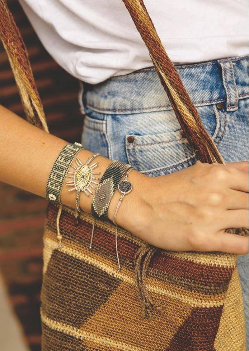 MISHKY Believe Beaded Bracelet - Grey main image