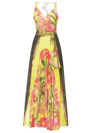 SFIZIO Tropical Long Pleated Dress - Fluro