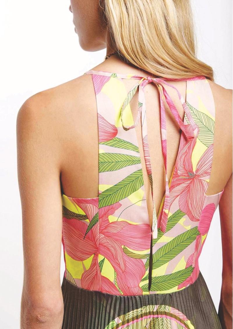 SFIZIO Tropical Long Pleated Dress - Fluro main image