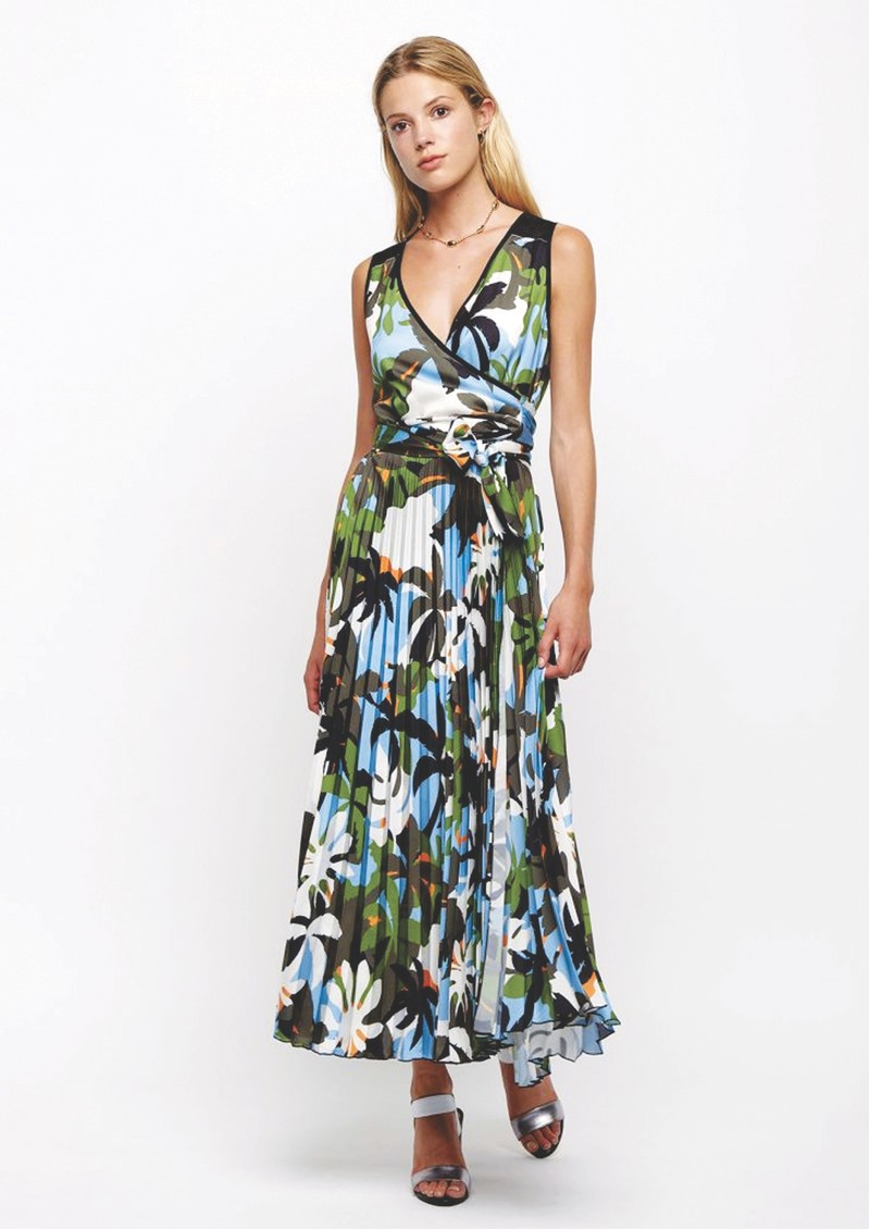 SFIZIO Tropical Long Pleated Dress - Jungle main image