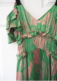 SFIZIO Midi Pleated Ruffle Dress - Green & Pink