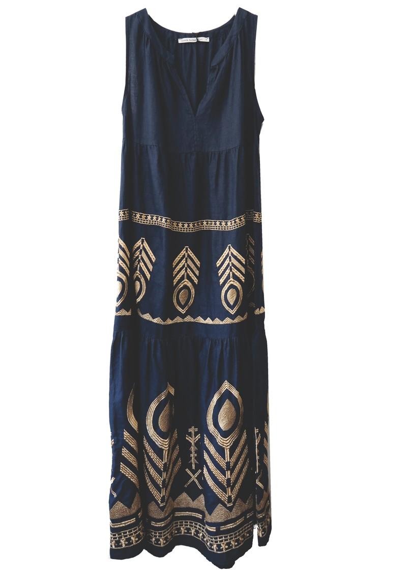 KORI Embroidered Linen Dress - Navy & Gold main image