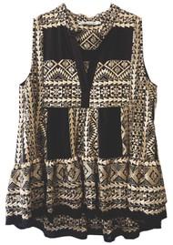 KORI Embroidered Cotton Sleeveless Top - Black & Gold