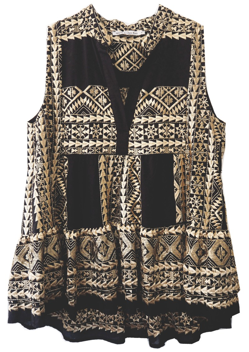 KORI Embroidered Cotton Sleeveless Top - Black & Gold main image