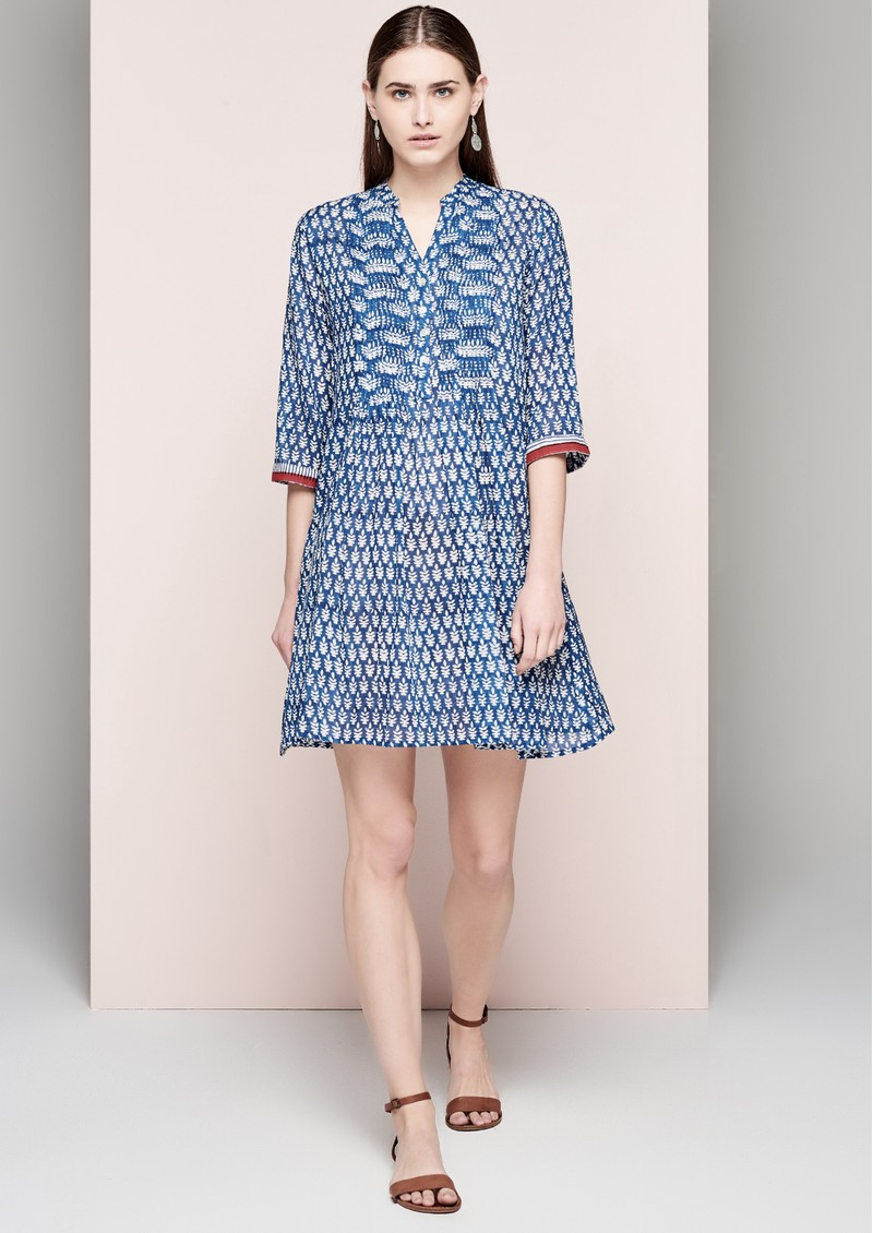 DREAM Short Cotton Dress - Navy & White main image