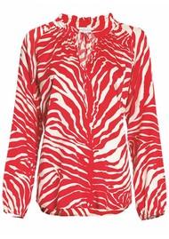 DEA KUDIBAL Janni Silk Tunic - Zebra Carmine