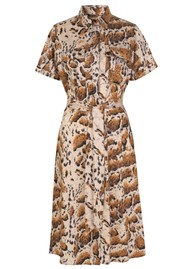 LEVETE ROOM Judy Shirt Dress - Animal Print