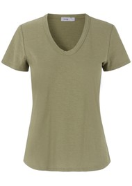 LEVETE ROOM Any Short Sleeve T-Shirt - Light Khaki