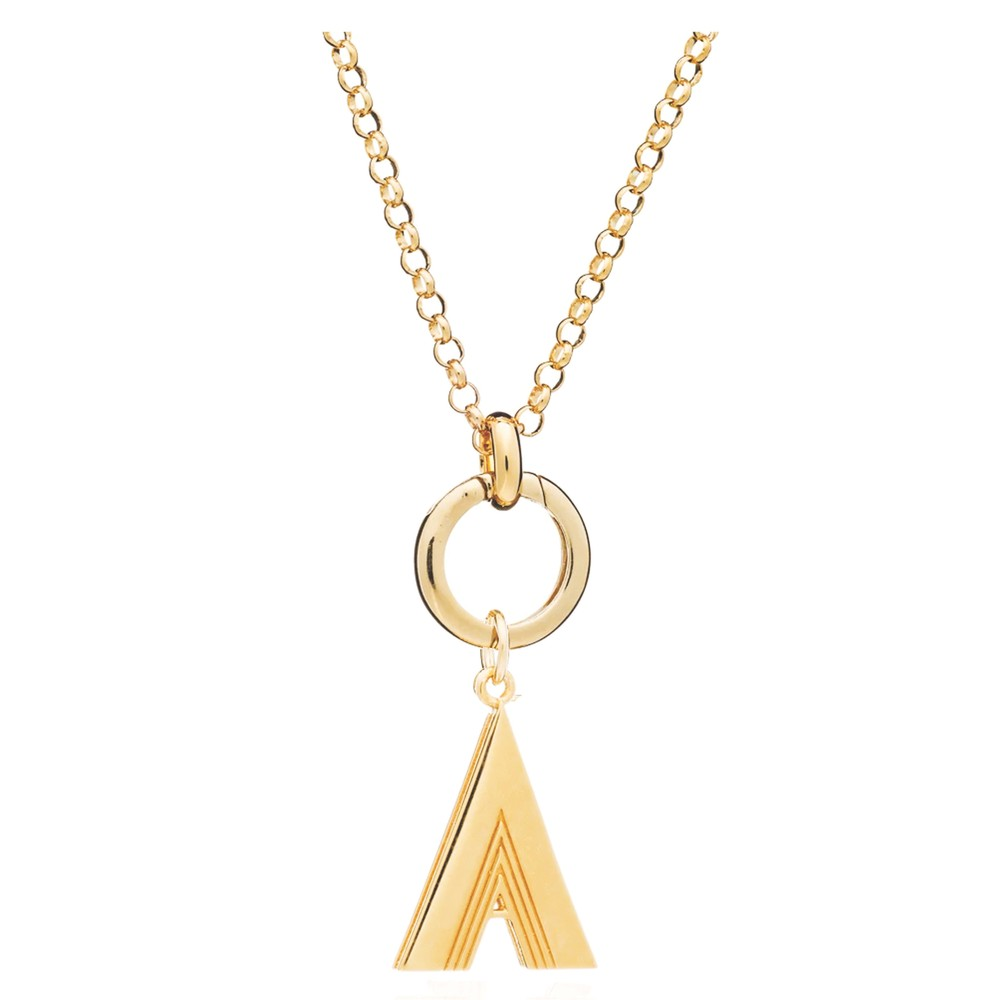Statement Initial 'A' Necklace - Gold