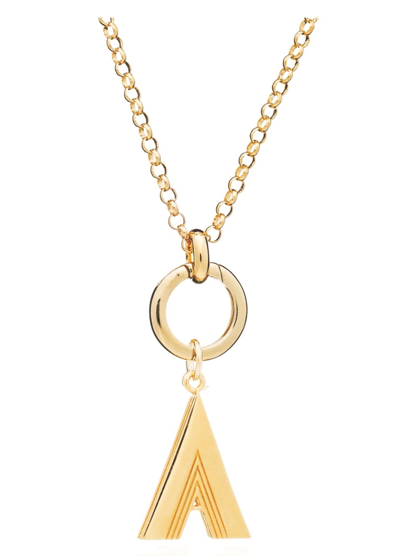RACHEL JACKSON Statement Initial 'A' Necklace - Gold  main image