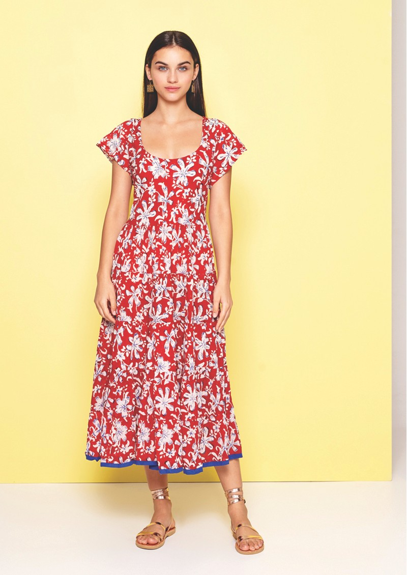 DREAM Opema Cotton Floral Dress - Red & White main image