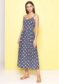 DREAM Ginger Strap Cotton Dress - Navy & White