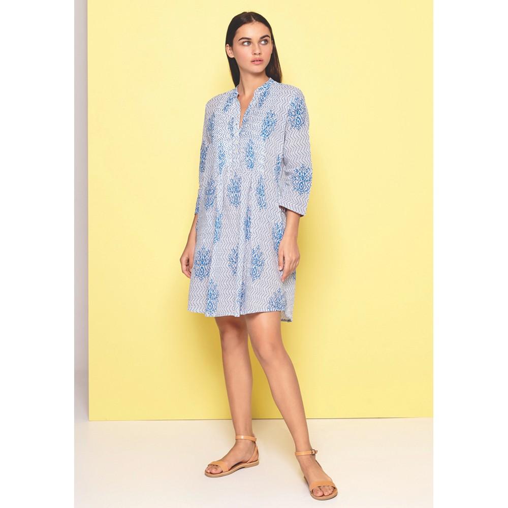 Beverly Leaf Print Dress - Light Blue