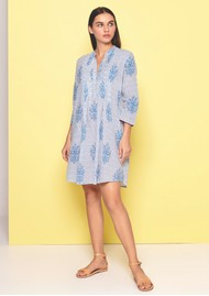DREAM Beverly Leaf Print Dress - Light Blue