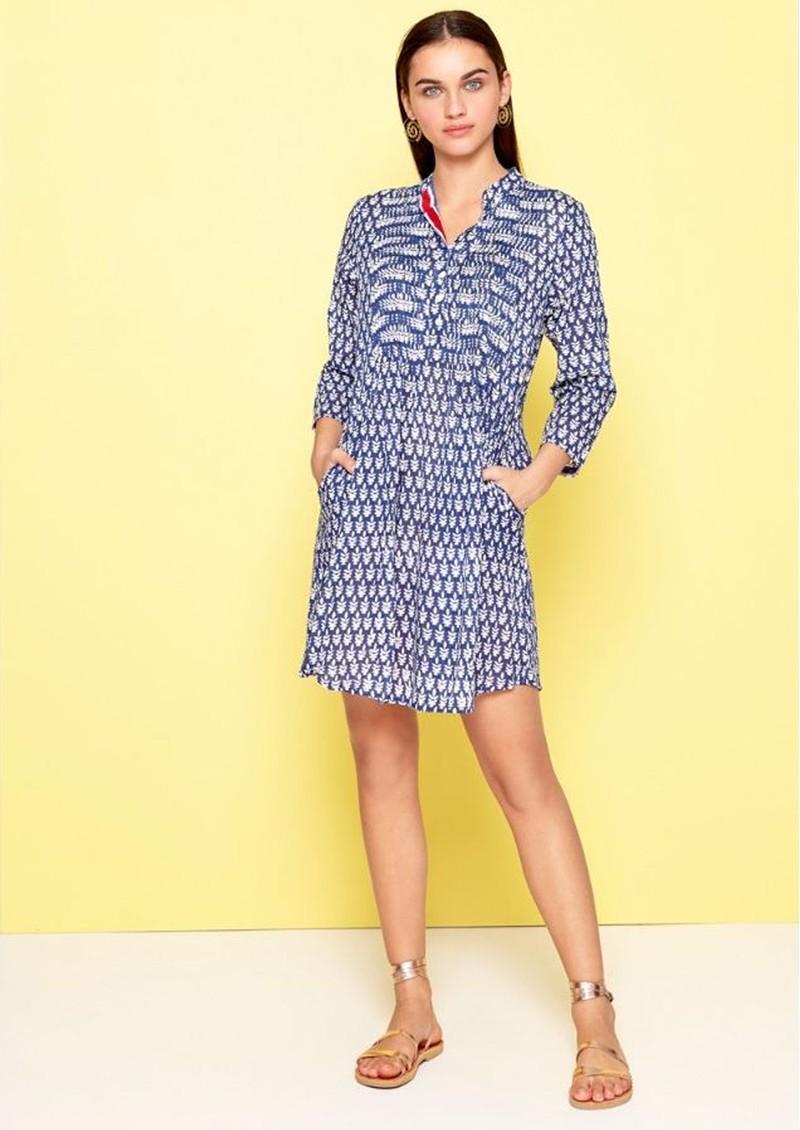 DREAM Beverly Cotton Dress - Navy Leaf main image