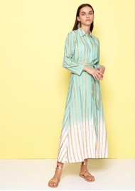 DREAM Striped Shirt Dress - Teal Blue