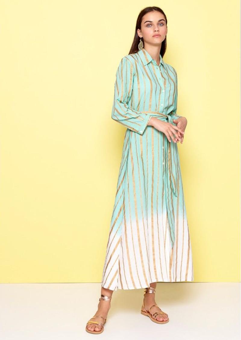 DREAM Striped Shirt Dress - Teal Blue main image