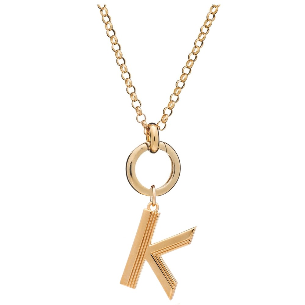 Statement Initial 'K' Necklace - Gold