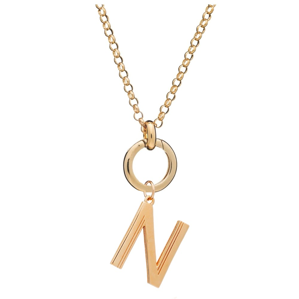 Statement Initial 'N' Necklace - Gold