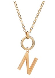 RACHEL JACKSON Statement Initial 'N' Necklace - Gold