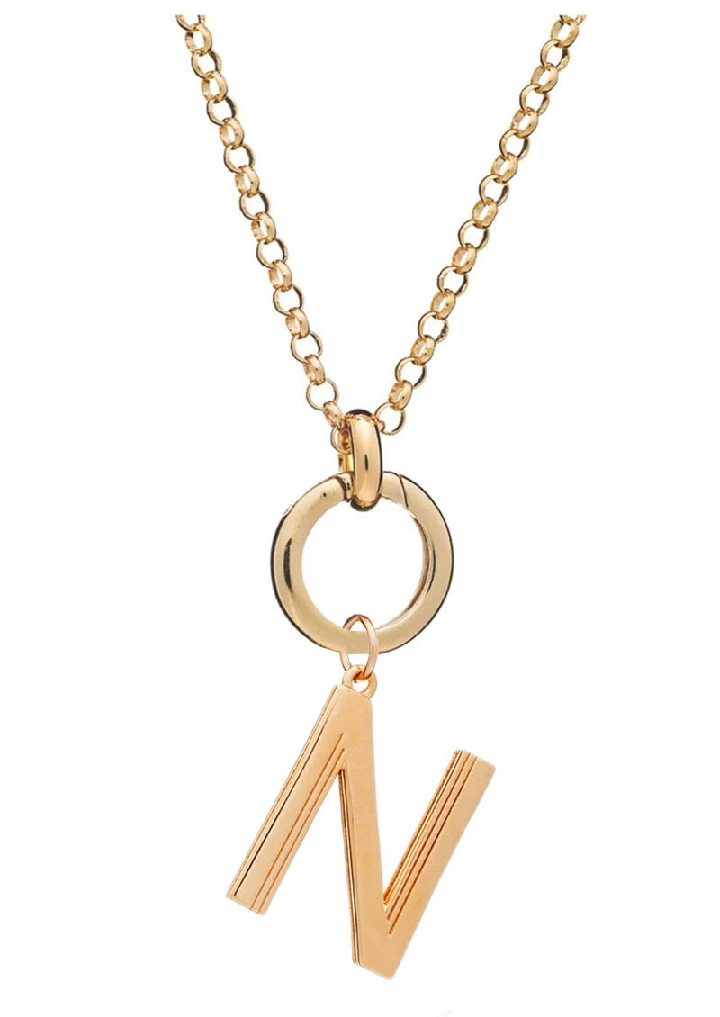 RACHEL JACKSON Statement Initial 'N' Necklace - Gold main image