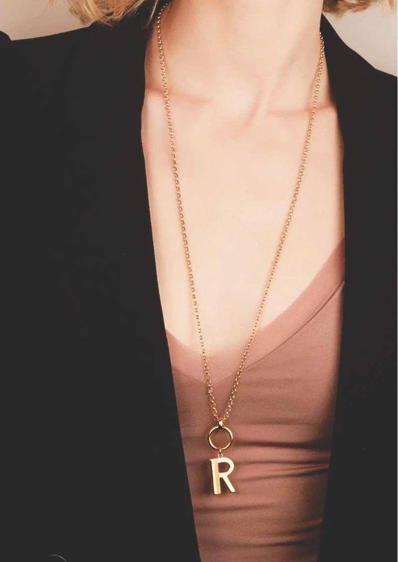 Statement Initial 'R' Necklace - Gold main image