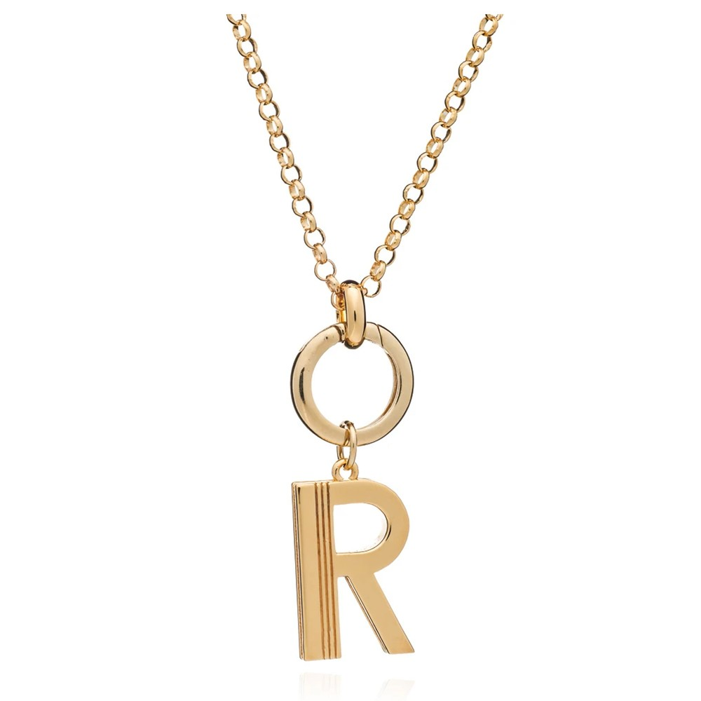 Statement Initial 'R' Necklace - Gold