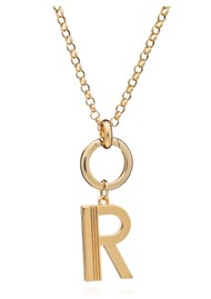 RACHEL JACKSON Statement Initial 'R' Necklace - Gold