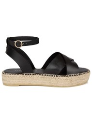 AIR & GRACE Nova Leather Espadrille Sandals - Black