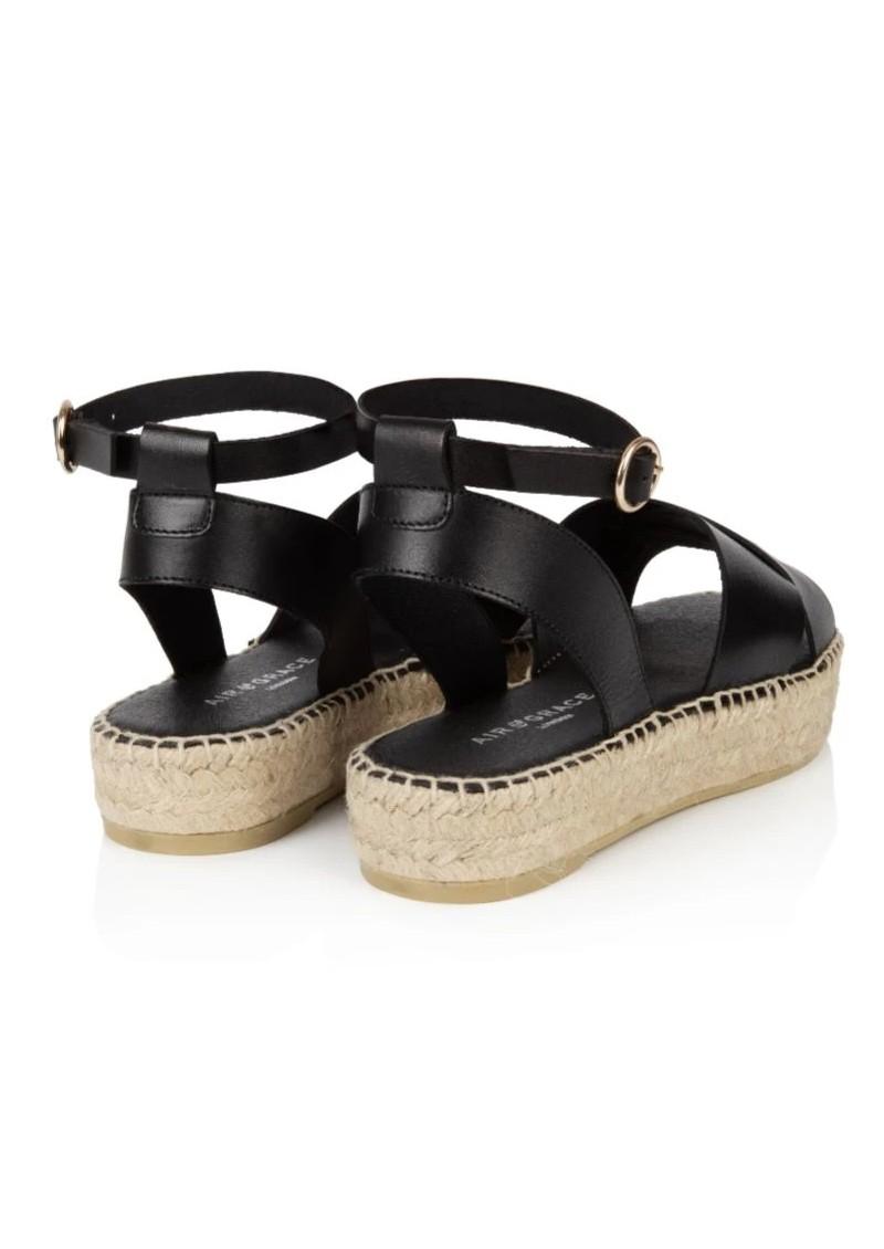 AIR & GRACE Nova Leather Espadrille Sandals - Black  main image