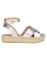 AIR & GRACE Nova Leather Espadrille Sandals - Silver