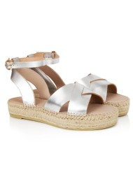AIR & GRACE Nova Leather Espadrille Sandals - Silver