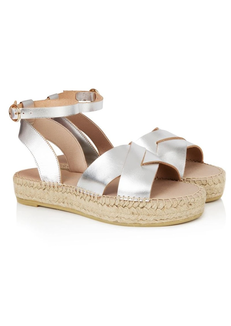 AIR & GRACE Nova Leather Espadrille Sandals - Silver main image