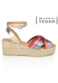 AIR & GRACE Tropicana Rainbow Metallic Espadrille Wedge Sandal - Multi