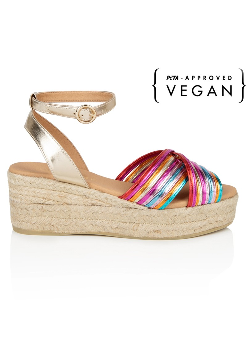 AIR & GRACE Tropicana Rainbow Metallic Espadrille Wedge Sandal - Multi main image