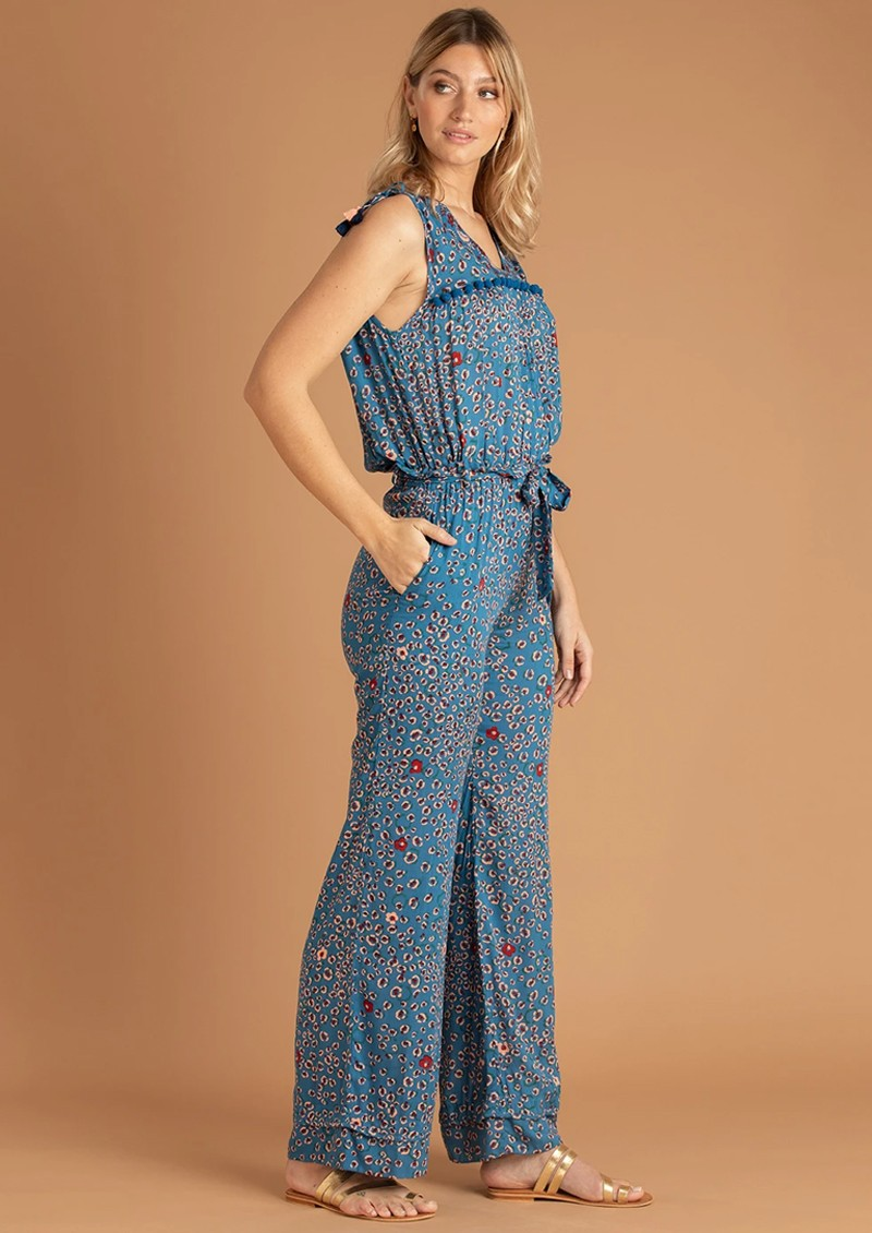 POUPETTE ST BARTH Long Mya Pom Pom Trimmed Jumpsuit - Blue Leo main image
