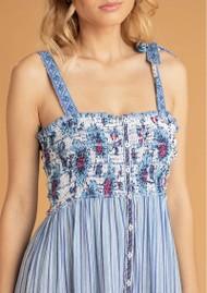 POUPETTE ST BARTH Triny Smocked Midi Dress - Blue Patch