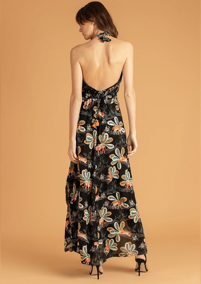 POUPETTE ST BARTH Ollie Flounce Long Dress - Black Tiger main image