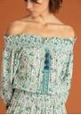 POUPETTE ST BARTH Sylvia Off The Shoulder Mini Dress - White Green Watercolour
