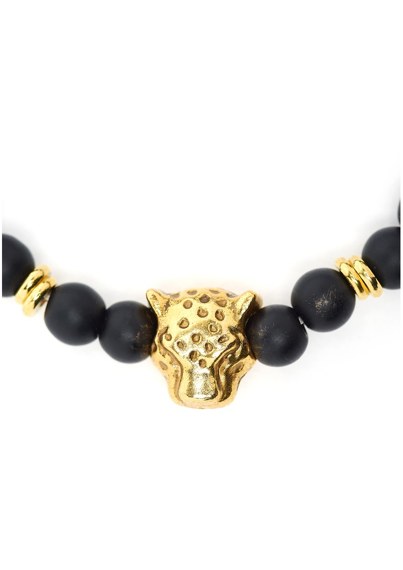 TRIBE + FABLE Leopard Beaded Bracelet - Black Onyx main image