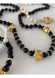 TRIBE + FABLE Leopard Beaded Necklace - Black Onyx